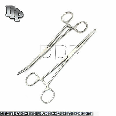 New 2pc Set 8 Straight Curved Hemostat Forceps Locking Clamps Stainless