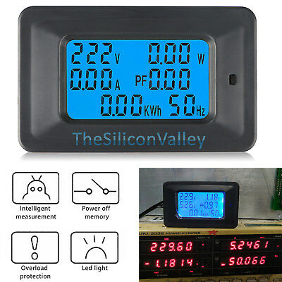 Lcd Digital Voltmeter Ac 110-250v 100a Ammeter Volt Amp Power Kwh Panel Meter
