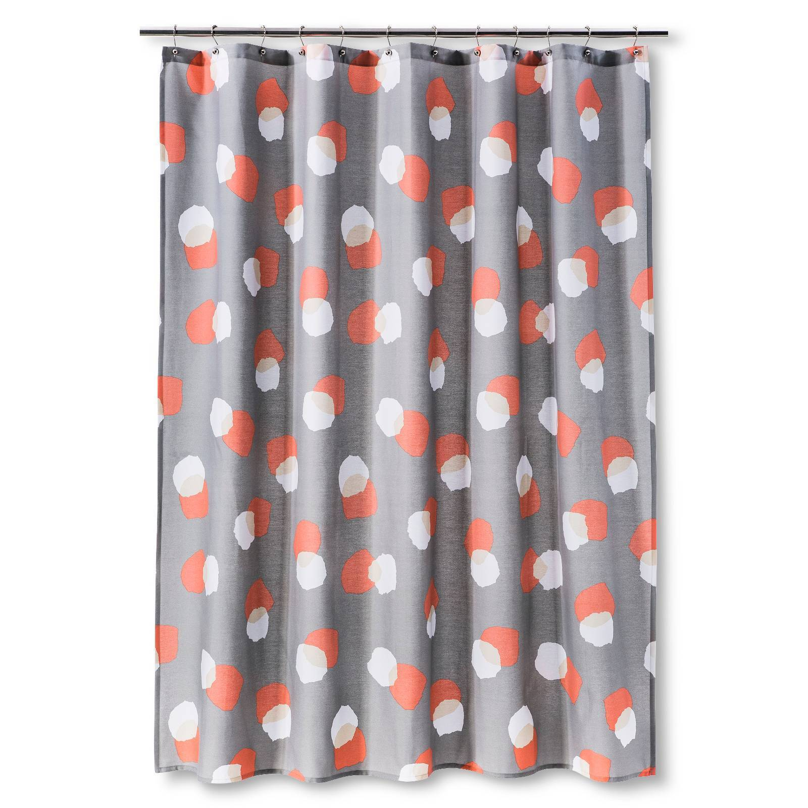Room Essentials Coral / Gray Dots Multicolor Fabric Shower Curtain ...