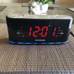 Sylvania Clock Radio Bluetooth Stream Music USB Charger Dual Alarm LED Light New
