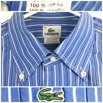 Lacoste Mens Sz 42 Blue White Striped Front Pocket Cotton L/S Button Down Shirt