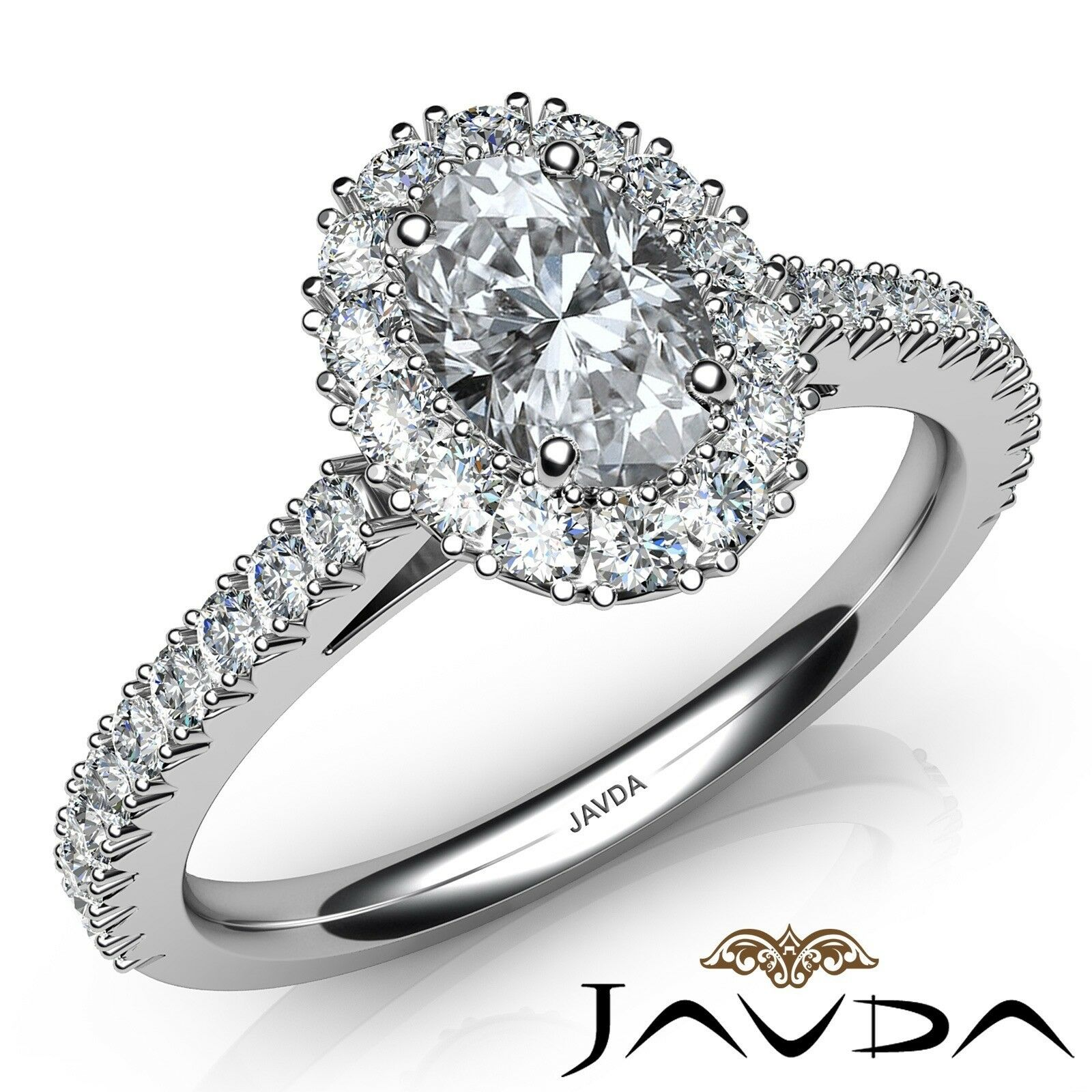 1.52ctw French V Cut Halo Pave Oval Diamond Engagement Ring GIA J-VVS2 W Gold