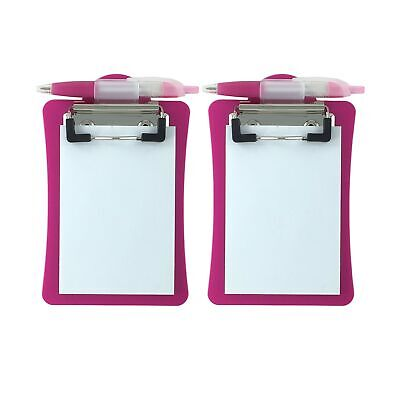 Clipco Mini Clipboard With Magnetic Back Includes Paper Pad And Pen 2-pack ...