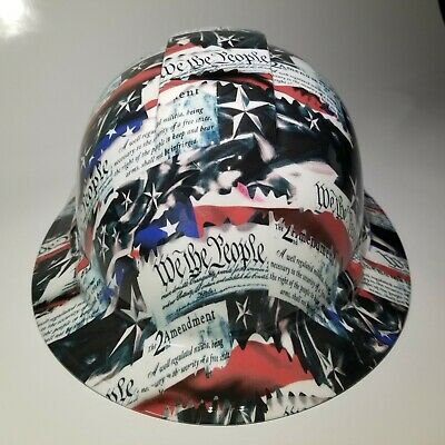 New Full Brim Hard Hat Custom Hydro Dipped In 2nd Amendment We The People Usa