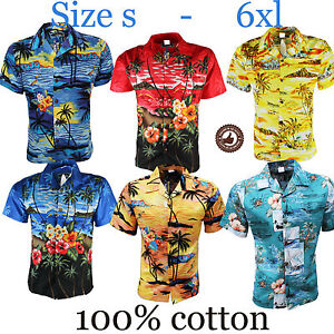 Hawiian-Shirt-Mens-Palm-Tree-Beach-Holiday-Fancy-Dress-Sunset-Stag-Party-Loud