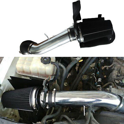 """4"""" Heat Shield Cold Air Intake System+Filter Fit GMC/Chevy V8 4.8/5.3/6.0L Black"""