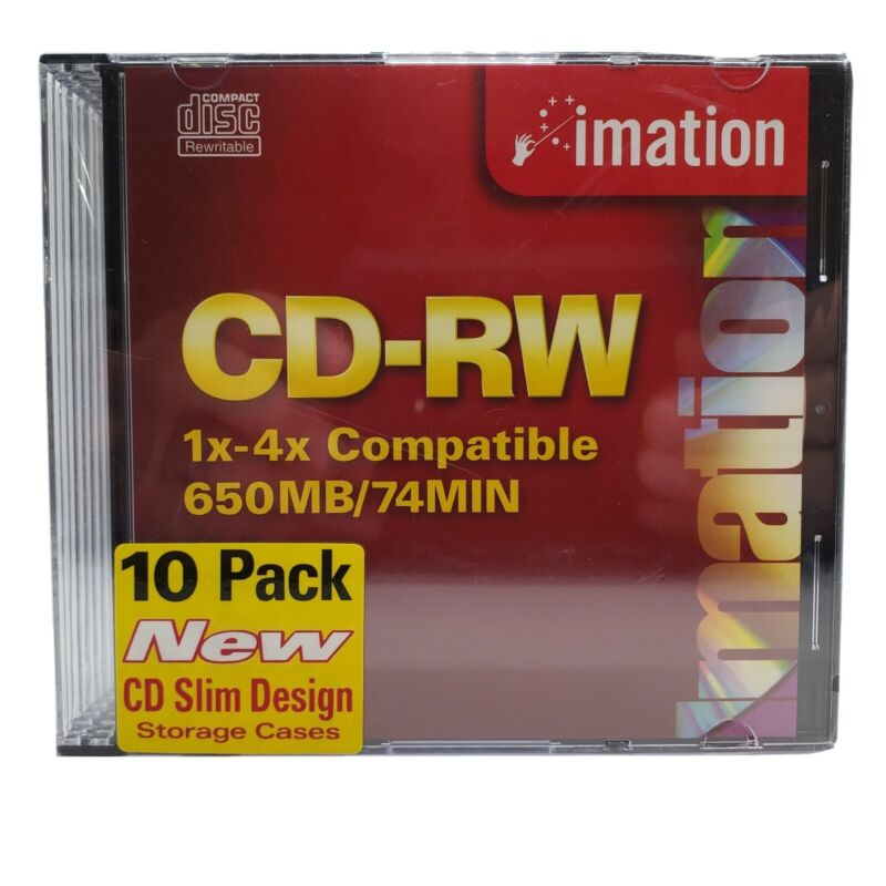 10 Pack CD-RW 1x-4x Compatible 650MB/74MIN Imation Brand New CD Slim Case