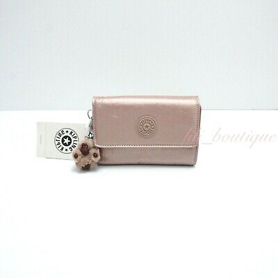 NWT Kipling AC6108 PIXI Snap Medium Trifold Wallet Nylon Rose Gold Metallic $48