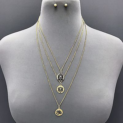 Lotus Flower Buddha (Gold Triple Layered Buddha Lotus Flower Charm Necklace With Earrings  )