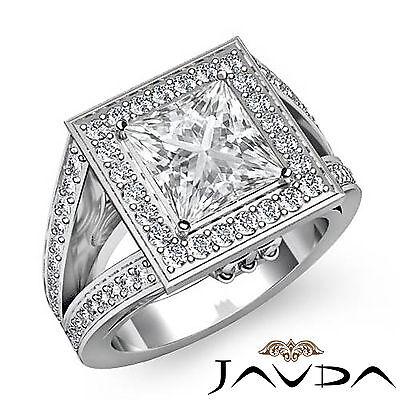 Halo Split Shank Micro Pave Set Princess Diamond Engagement Ring GIA G VS2 2 Ct