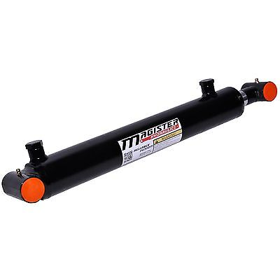 "Hydraulic Cylinder Welded Double Acting 2"" Bore 12"" Stroke Cross Tube 2x12 NEW"