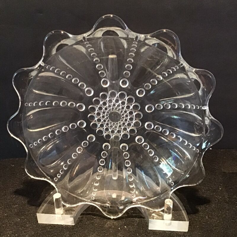 """Set of 4 Vintage Federal Depression Clear Glass 6 1/2"""" Bowls Columbia Pattern"""