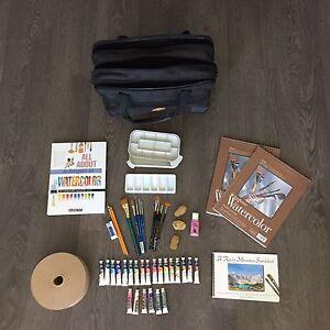 Watercolour art supplies.