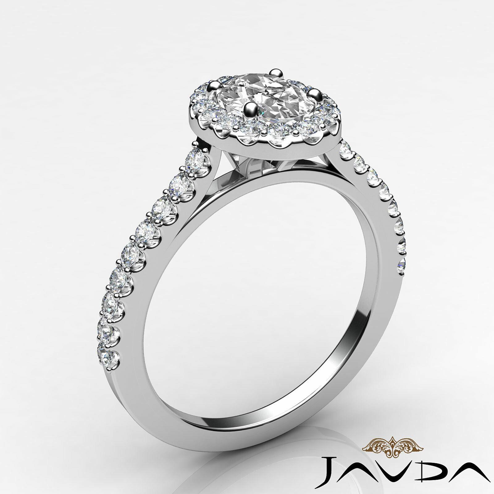 1.6ctw Prong Setting Oval Diamond Engagement Ring GIA H-VS1 White Gold Women New 1