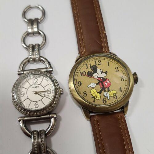 Disney Mickey Mouse & Fossil CZ Quartz Watch Lot WORKING 2WL