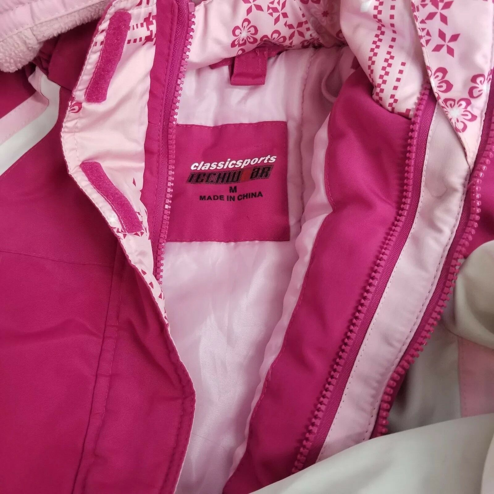 Купить classicsports - Girl's Coat Size M Jacket with Zip Removable Hood School Play Pink White