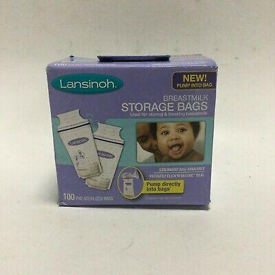 Lansinoh Breast Milk Storage Bags Click N Secure Seal Storing or Freezing 100 (Store Secure)
