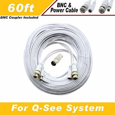 HD WHITE 60 ft Power & Video Cable for Security CCTV use / LOREX / Swann / Qsee