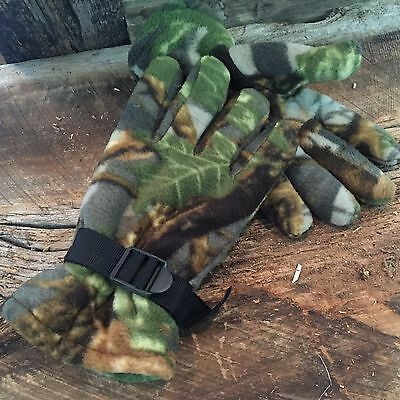 Fleece Hunting Gloves (ADULT Hunting Gloves Camo Fleece Insulated Gloves THERMOWARE NATURE CAMO #1 )