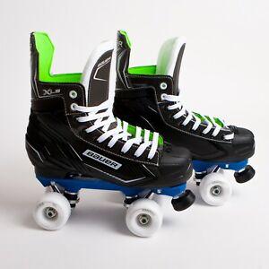 Bauer X-LS Quad Roller Skates - Blue Sure-Grip Rock Plate - Ventro Wheels