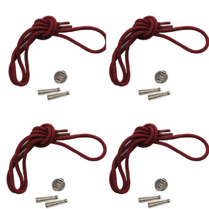 Blank Bolo Tie Kit Round Slide Textured Tips Maroon Cord DIY SilverTone for 4
