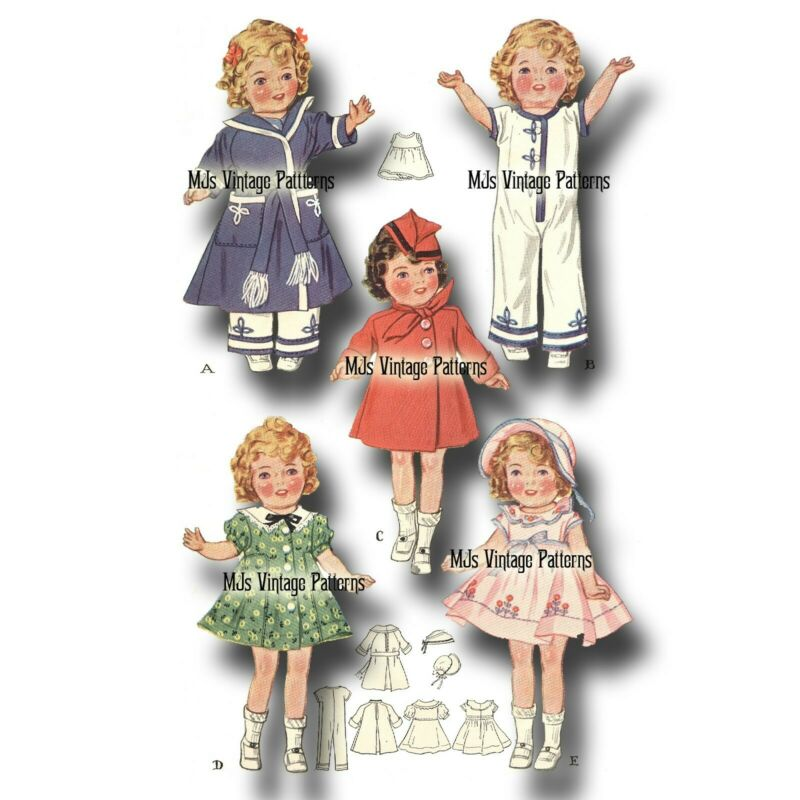 """Vintage 13"""" Shirley Temple Doll Clothes Dress Pattern ~ 14"""" Patsy Compostion"""