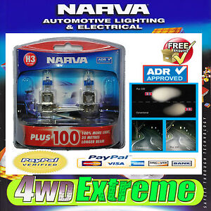 NARVA-H3-GLOBES-PLUS-100-PERFORMANCE-BULB-12V-55W-48341BL2-LIGHTS-HEADLIGHTS-T10