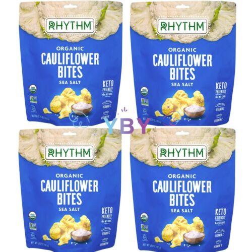 4 Packs Rhythm Organic Cauliflower Bites with Sea Salt 5.75 oz Each Pack