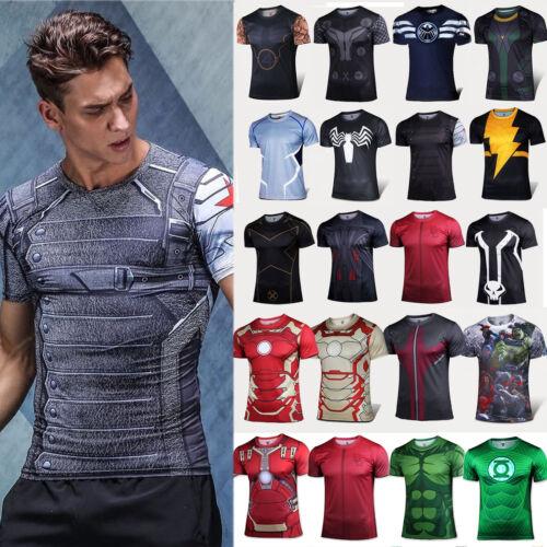 Herren Marvel Thor Superheld Kurzarm Kompression Basic T-shirt Sports Jersey Top