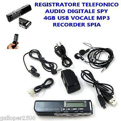 REGISTRATORE TELEFONICO AUDIO DIGITALE SPIA  4 GB USB VOCALE MP3 RECORDER SPY