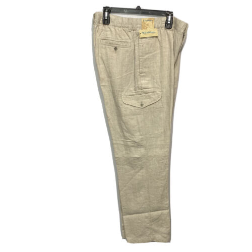 Caribbean Roundtree & Yorke Mens Linen Cargo Pants Stretch Waist 42×36 Khaki Clothing, Shoes & Accessories