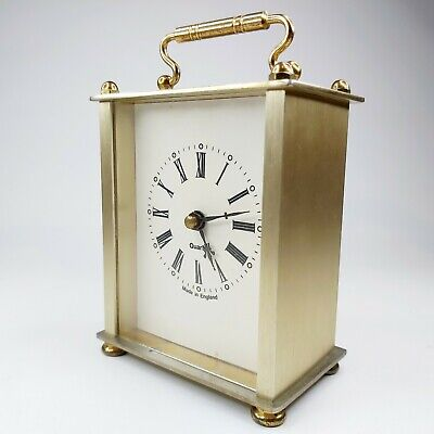 Quartz Vintage Brushed Gold & White Clock Made In England Handle Collectible