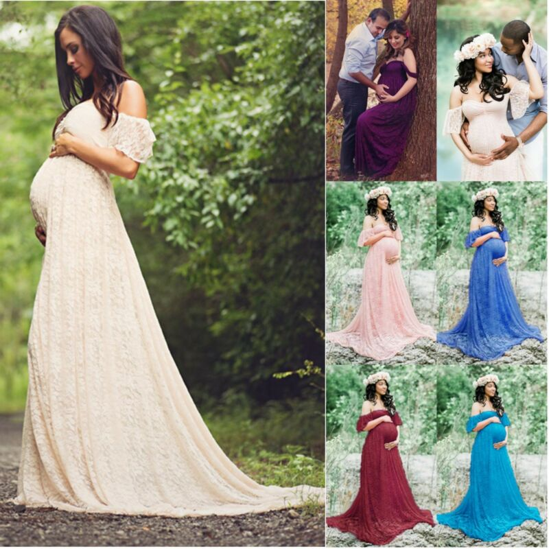 Photography Prop Pregnant Women Lady Off Shoulder Lace Maxi