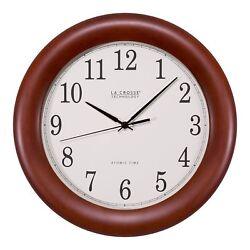 La Crosse Technology WT-3122A 12.5 Inch Cherry Wood Atomic Analog Clock, 12.5,