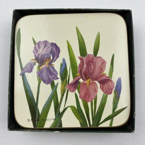 Vintage Cloverleaf Traditional Coasters Iris 1130 Set Of 6 Cork Back