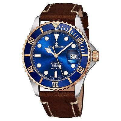 Revue Thommen Diver Blue Dial Brown Leather Strap Automatic Watch 17571.2555 Automatic Brown Strap Watch