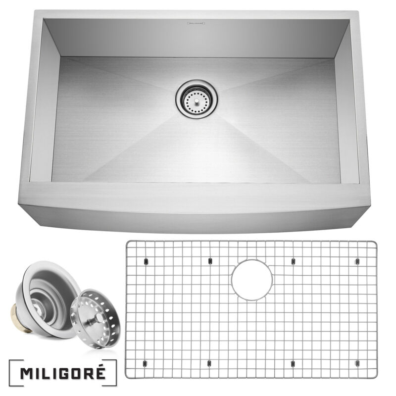 """33""""x21""""x10"""" Country Farmhouse Stainless Steel Single Bowl 16g Apron Sink"""