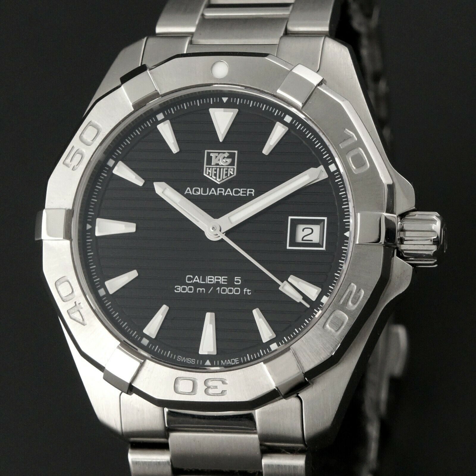 Tag Heuer WAY2110 Aquaracer Calibre 5 Stainless Steel Man's Dive Watch, Box, NR!
