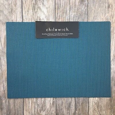 Chilewich Pickstitch Set of 4 Placemats Blue Hue Colors New