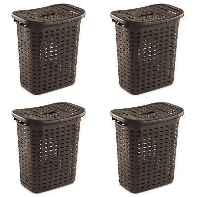 plastic wicker weave dirty clothes laundry hamper