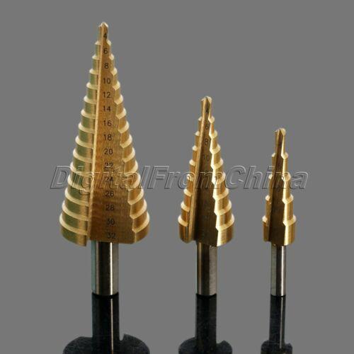 1//4-3//4 Haute Vitesse Acier 4241 Acier Étape Cône Revêtement Titane Drill Bit Metal Hole Cutter