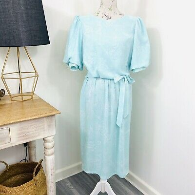 80s Dresses | Casual to Party Dresses Vintage 80s Discovery Womens Midi Dress Floral Aqua Blue Puff Sleeve Size 14 $33.66 AT vintagedancer.com