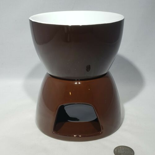 Crate And Barrel 2 Piece Brown Ceramic Porcelain Fondue Set Warmer Tea Light EUC