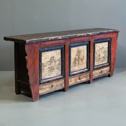 Antique Red Chinese Sideboard Cabinet