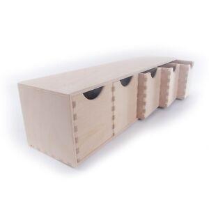 Horizontal Plain Wooden Storage Box With 5 Drawers/ Craft Wood Desk Organiser