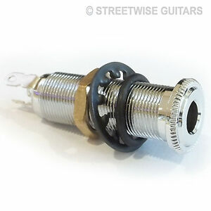 Guitar Input / output Jack Socket Acoustic / Electric Chrome Stereo or Mono