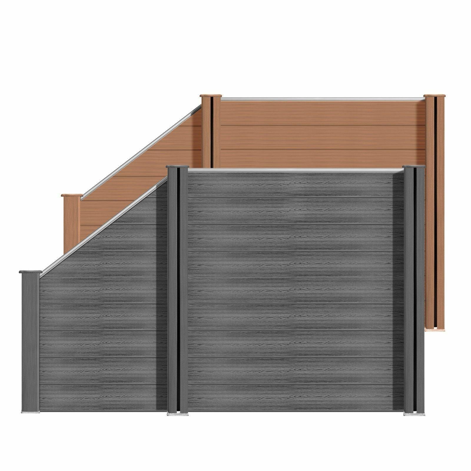 Sichtschutzzaun Bohlenzaun Element Holz Ki Grau 180x180cm