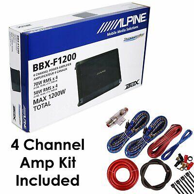 Alpine 1200 Watts 4-Channel BBX-F1200 BBX Series Class A/B Amplifier w/ Amp Kit
