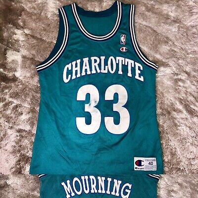 Vintage 90's Champion NBA Charlotte HORNETS Alonzo Mourning Basketball Jersey 40
