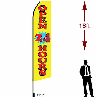 16ft Outdoor Advertising Flag With Pole Set Ground Stake. Open 24 Hours